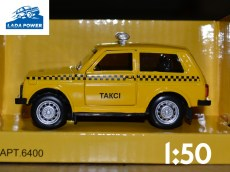 Lada Niva Toy Car 1:50 Taxi (9cm)